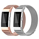For Fitbit Charge 2 Bands - Charge 2 Milanese Loop Stainless Steel Metal Bracelet with Unique Magnet Clasp Replacement Bands for Fitbit Charge 2 Rose Gold Silver Large