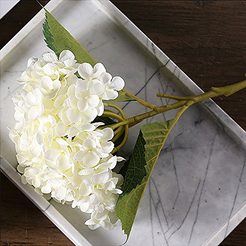 CEWOR 3pcs Artificial Hydrangea Flowers with 2pcs Fake Leaves Fake Silk Flowers for Home Wedding Garden Party Decor, (White) by CEWOR (Image #6)