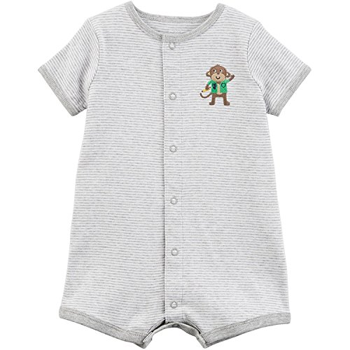 Carter's Baby Boys' Monkey Snap-Up Cotton Romper 18 Months Gray