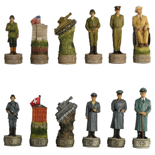 Hand Painted World War II Polystone Chess Pieces ()
