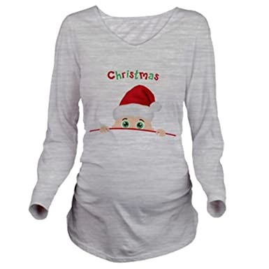 39b5c127 Meedot Women's Maternity Tops Funny Christmas Shirt Pregnancy T shirt Long  Sleeve Tops Round Neck Nightwear Cotton Pullover Plus: Amazon.co.uk:  Clothing