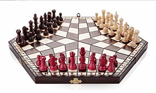 JEU de 3 joueur d'échecs - petit 28 cm x 14 cm x 4 cm (blanc, noir, rouge) à la main le jeu d'échecs en bois