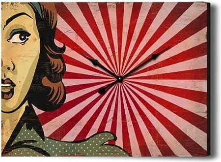 Design Retro Orologio Pop Art Lady Di Nostalgiche Legno Orologio Da Parete 40 X 30 Cm Orologio Vintage Boheme Amazon It Casa E Cucina