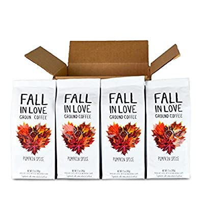 Fall In Love, Pumpkin Spice Flavored Coffee, 4/12 Oz Ground Packages by Paramount Roasters