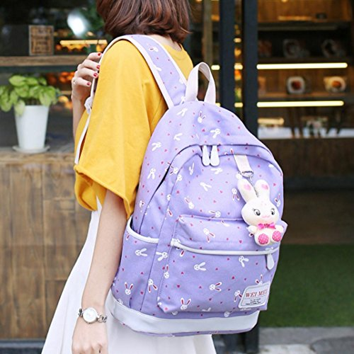 purple Bag Sets Backpacks 4 Shoulder Canvas Motop Rabbit Handbag Lightweight School Animals FP5zqZw