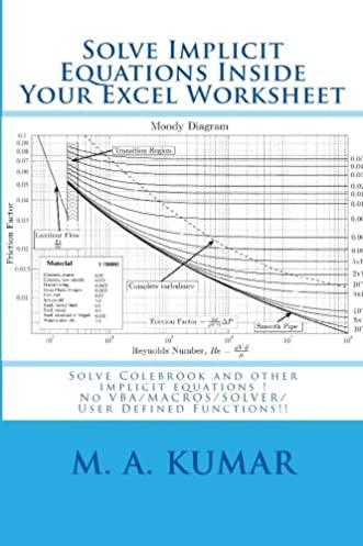 Moody diagram in excel basic guide wiring diagram solve implicit equations inside your excel worksheet solve rh amazon com moody diagram imperial moody diagram ccuart Images