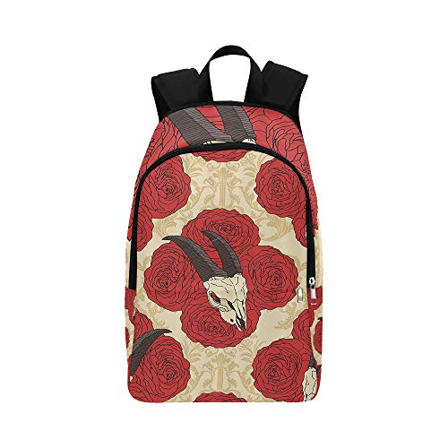 IIAKXNB Goat Head Skull On Red Roses Casual Daypack Travel Bag College School Backpack Mens Women