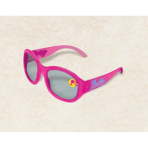 Amscan Barbie  Sparkle Pink Glitter Sunglasses Birthday Party Costume Accessory Favour (1 Piece), Magenta, 4 1/2