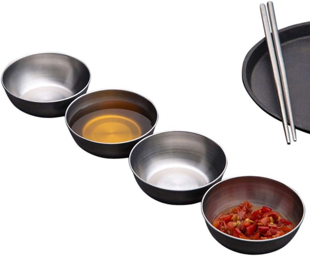 Angoily 5Pcs in Acciaio Inox Piatto Piatto di Salsa di Rotonda Condimento Piatti Sushi Immersione Ciotole Piattini Ciotola Mini Antipasto Vassoio di Gioielli Piastra per Ristorante Casa