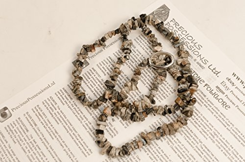 Silver Leaf Jasper Necklace Chip Beads Nuggets Long Gray Black Brown Strand 34 Inch with - Silver Leaf Jasper Necklace