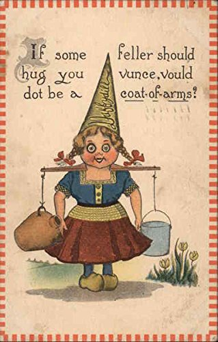Dutch Girl With a Pointy Dunce Hat Carrying Jugs Dutch Children Original Vintage Postcard (Jug Dutch)