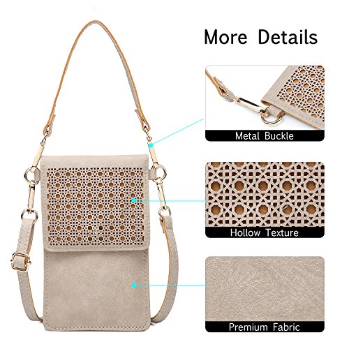seOSTO Small Crossbody Bag Cell Phone Purse Wallet with 2 Shoulder Strap Handbag for Women Girls (Beige) … by seOSTO (Image #5)