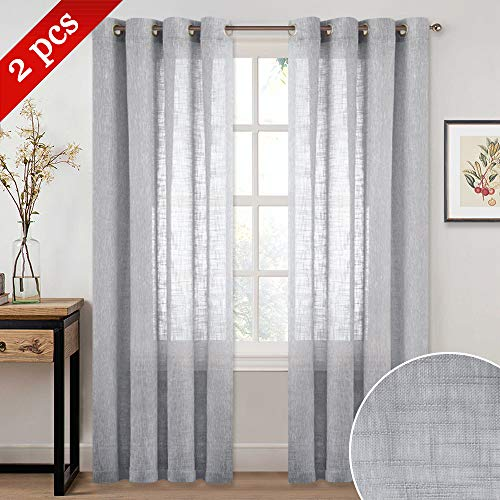 NICETOWN Linen Textured Sheer Curtains - Grommet Natural Country Style Voile Curtain Panels 84 Inches Long for Living Room/Bedroom (Light Gray, 1 Panel = 52