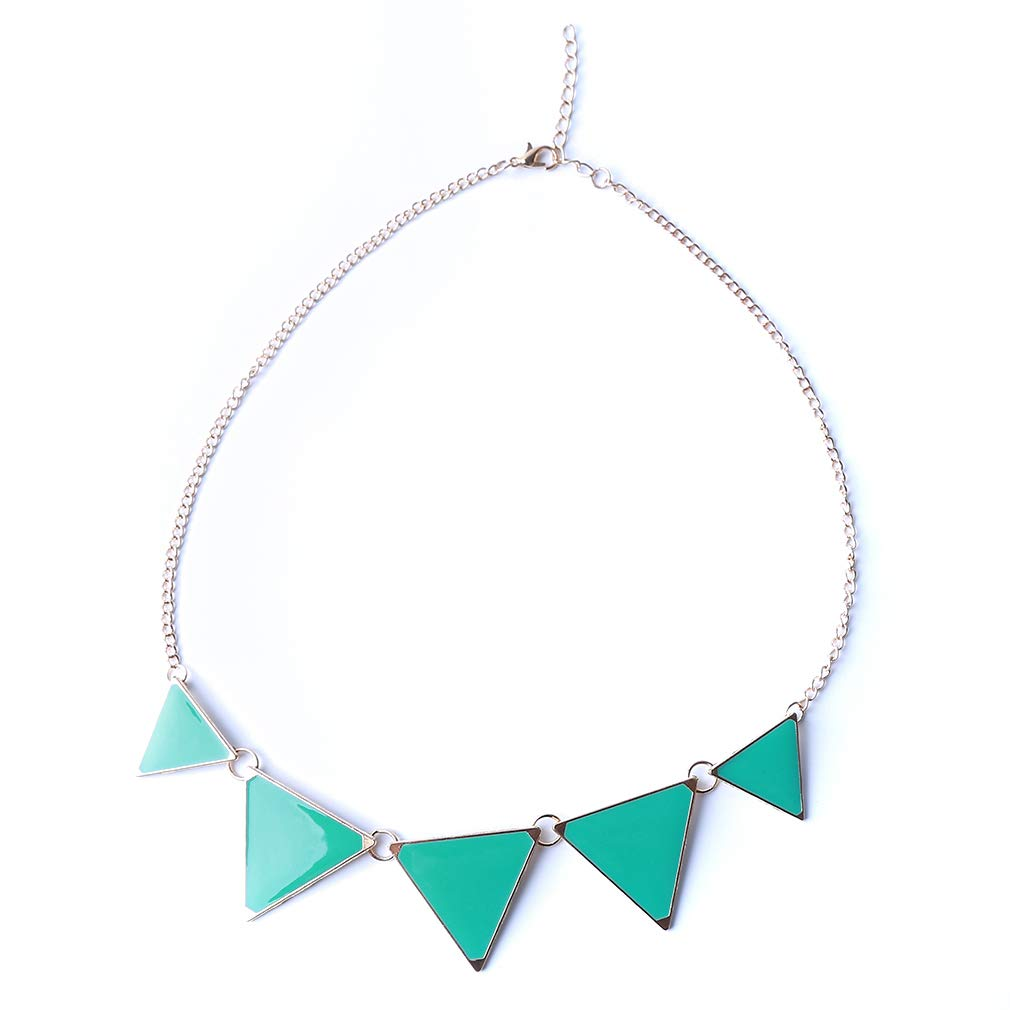 SOURBAN Women Candy Color Crystal Geometric Triangle Pendant Choker Necklace,Green