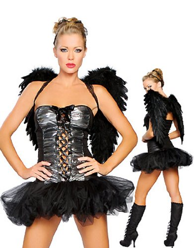 Sensual Costumes (Sensual Mystique Dark Angel Wings Adult Costume Full Dress Halloween Cosplay)