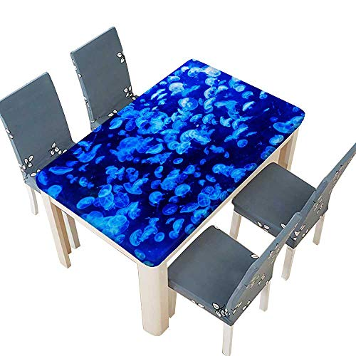 (PINAFORE Polyester Tablecloth Table Cover Beautiful Luminescent Plankton in The Ocean for Dining Room W41 x L80.5 INCH (Elastic Edge))