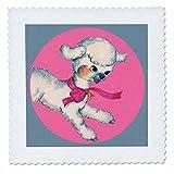 3dRose TNMPastPerfect Animals Farm - Cute Little Lamb in Pink Circle - 16x16 inch quilt square (qs_280653_6)