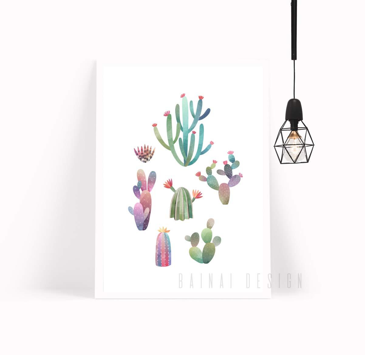 DIN A3 Kunstdruck Poster KAKTUS N/°3 -ungerahmt- Pflanze Kaktusbl/üte Wasserfarbe Natur
