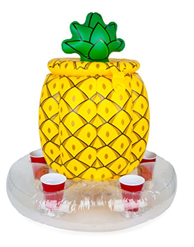 (BigMouth Inc Inflatable Pineapple Cooler, Holds 5 Drinks, Easy to Inflate Floating Pool Cooler, Built-in Ice)