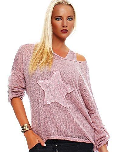 Moda Italy Mujer 2 en 1 (manga larga camiseta túnica Blusa con lentejuelas Top Estrella
