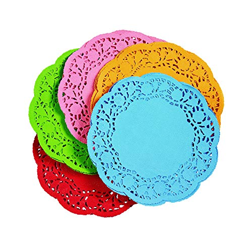 Colorations 6 inch Assorted Color Round Doilies, Set of 120, covid 19 (Colored Paper Doilies coronavirus)