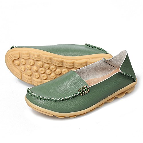 Scarpe Stringate Casual In Pelle Moda Yixinan Per Donna Army Green2