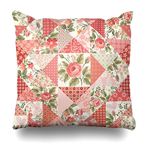 - Ahawoso Throw Pillow Cover Pink Blossom Patchwork Pattern Roses Butterflies Garden Abstract Red Bouquet Brunch Butterfly Circle Zippered Pillowcase Square Size 16 x 16 Inches Home Decor Cushion Case