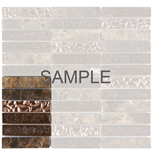 Modket TDH165MO-S Sample Emperador Dark Brown Marble Stone Mosaic Tile, Crackle Glass, Rose Gold Glass Insert Blend Stacked Pattern Backsplash