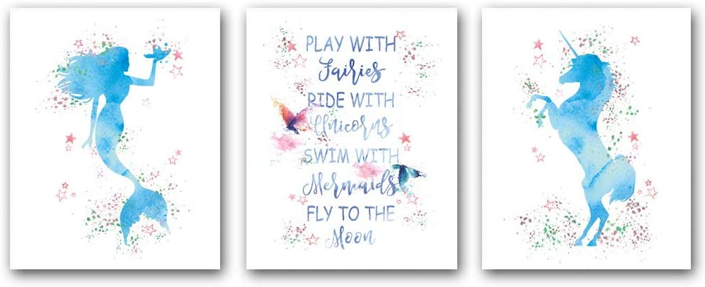 """Set of 3Mermaid and Unicorn Wall Art Print Posters,Pink Stars Watercolor Poster with Inspirational Words Stories,Butterfly Watercolor Poster Wall Art Canvas for Bedroom Home Decor.(Unframed,8""""X10""""inches)"""