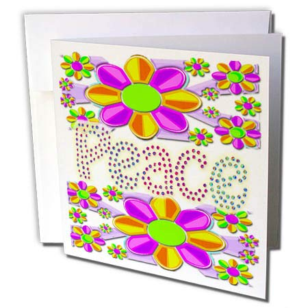 3dRose Spiritual Awakenings Hippy Sixties - Peace Love and Flowers is What it was All About a Great Retro Art - 12 Greeting Cards with envelopes (gc_291633_2) ()