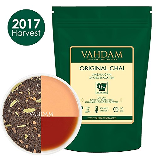 India's Original Masala Chai Tea Leaves (100 Cups, 7oz) Ancient Indian House Recipe, Assam CTC Black Tea blended with Cardamom, Cinnamon, Black Peppercorns & Cloves from India, 3.53oz (PACK OF 2) (Recipes Spice Tea)