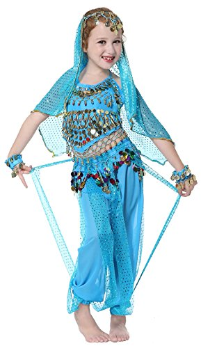 Dance Costumes Model (Seawhisper Aladdin Genie Costume for Girls Kid's Belly Dance Halloween Costume Blue 7 8 10)
