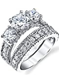 Sterling Silver Past Present Future Bridal Set Engagement Wedding Ring Band W/Cubic Zirconia CZ 7.5