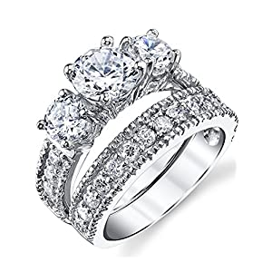 1.25 Carats Sterling Silver Past Present Future 2-Pc Bridal Set Cubic Zirconia Engagement Wedding Ring Band