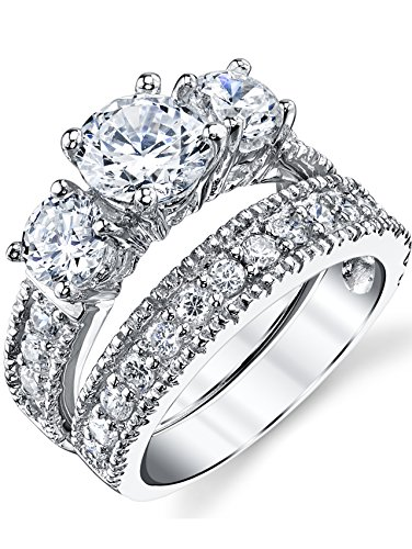 (Sterling Silver Past Present Future Bridal Set Engagement Wedding Ring Band W/Cubic Zirconia CZ 6.5)