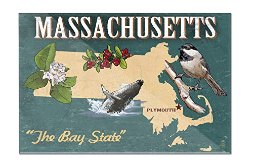 Plymouth, Massachusetts - State Icons (18x12 Acrylic Wall Art Gallery - Plymouth Lantern Hanging