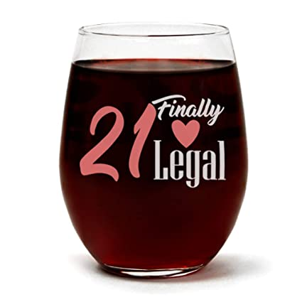 21 Finally Legal Funny Cute 21st Birthday Wine Glass