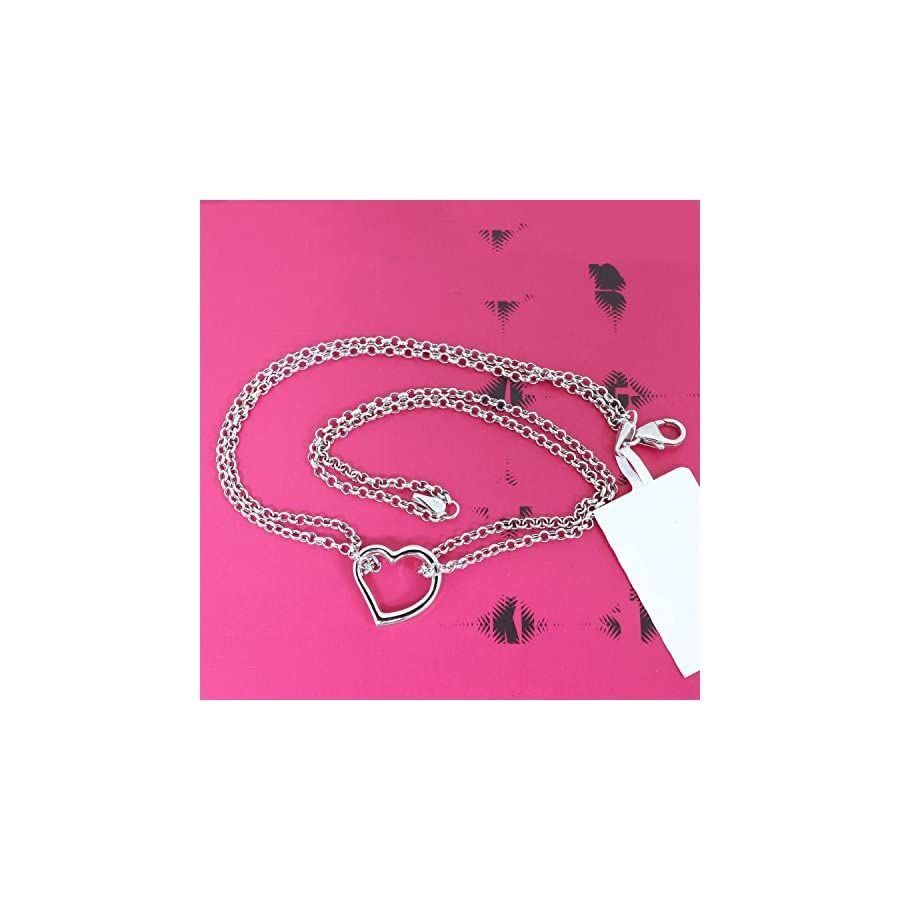 Beauniq 14k Yellow or White Gold Double Chain Heart Anklet 10""