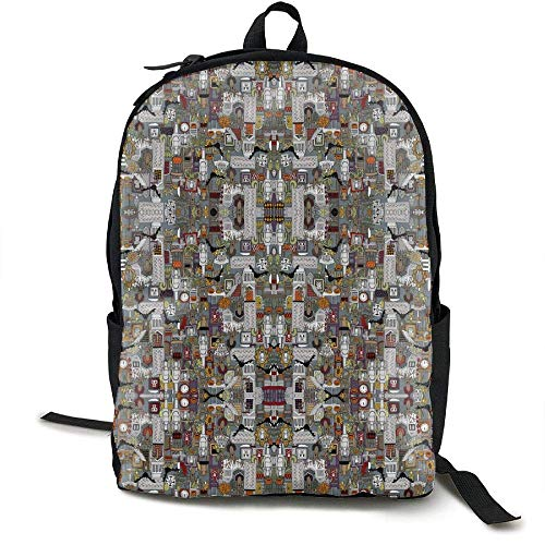Unisex HALLOWEEN SUPPER XIII Large Fabric Print Backpack Canvas Bag School Student Bookbags Daypack -