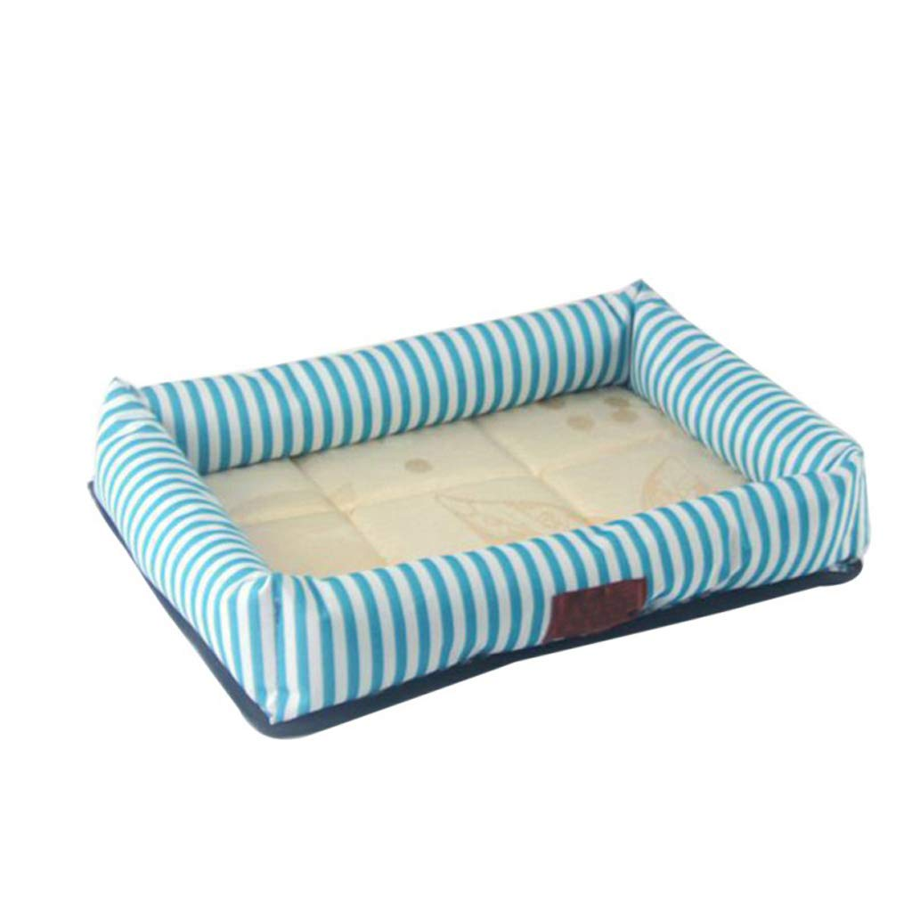 bluee stripes XL bluee stripes XL Multicolor Oxford Cloth Pet Nest Pad Kennel Cool Breathable Dog Pad (color   bluee stripes, Size   XL)