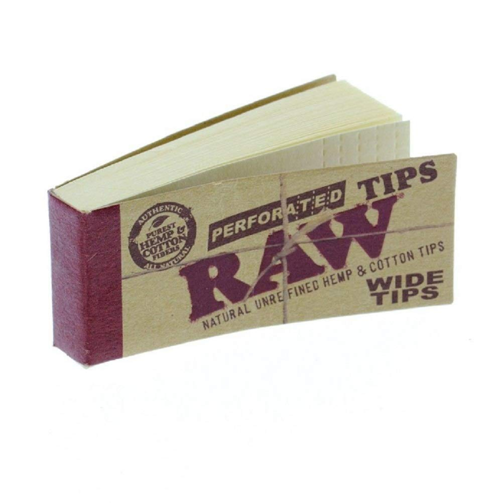 Natural Unrefined Hemp /& Cotton By SOS Raw Filter Tips, 5 Booklets Raw Perforated Wide Smoking Filter Tips Roach/& Filter Tips