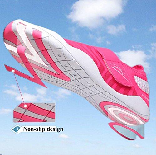 YAZACO Frauen Männer Barfuß Quick-Dry Wasser Sport Aqua Schuhe Jungen Slip-On Schwimmen Sneaker Für Strand Surfen Rosa