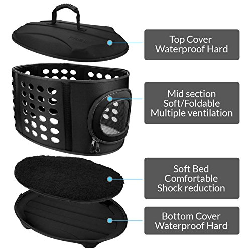 FRIEQ 23-Inch Large Hard Cover Pet Carrier - Pet Travel Kennel for Cats, Small Dogs & Rabbits