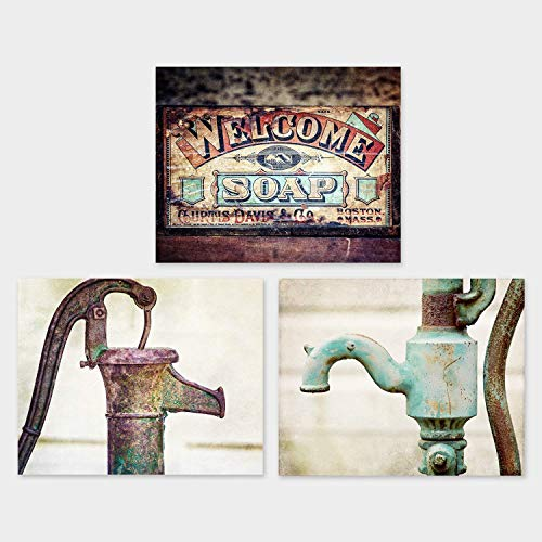 (Farmhouse Bathroom Wall Decor Unframed 5x7 Print Set of 3 Pictures for Rustic Bath Art in Teal Turquoise and Brown. Laundry Room Decor, Country Kitchen Art.)