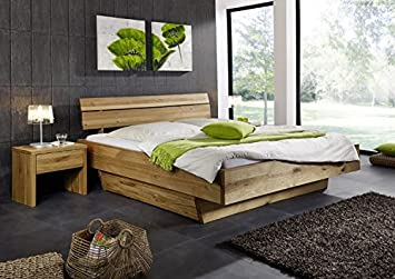 Holzbett massiv rustikal  Doppelbett Bett Holzbett Wildeiche massiv Schlafzimmer Balken ...
