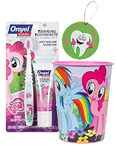 My Little Pony 3pc Toddler Training Oral Hygiene Set! (1) Soft Manual Toothbrush, Fruity Training Toothpaste & Mouthwash Rinse Cup! Plus Bonus