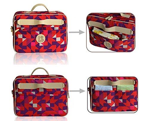 Doble cara de tres dimensiones impermeable multifuncional bolso de la momia, portátil, diagonal, coche, cochecito colgante, bolsa de ordenador ( Color : Red Ling grid ) Red Ling grid