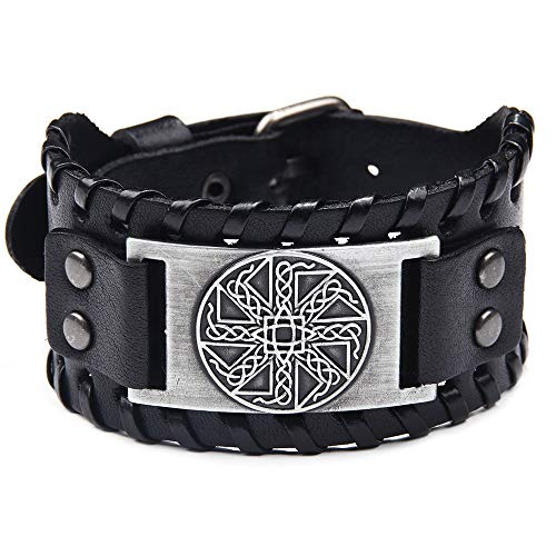 GKLE Genuine Leather Viking Compass Cuff Adjustable Wristband Bracelet for Men/Unisex Brown and Black