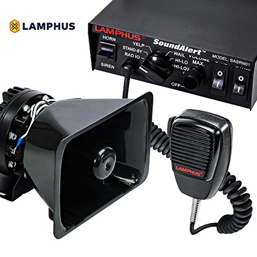 LAMPHUS SoundAlert Siren & Speaker PA System [100W] [6 Modes] [Heavy Duty] [120-130dB] [Microphone] [Hands-Free] [Dual 20A Switches] Emergency Horn Sound System for Police Cars & Fire Trucks