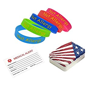 "BAIYI Nut Allergy Alert Bracelet Silicone Medical ID Wristbands Children Teens 6-7.2"" - 5Pack"